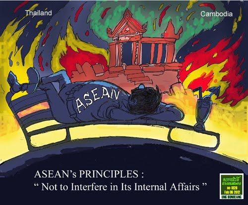 So sieht der kambodschanisch-australische Karrikaturist Sacrava die Rolle der ASEAN im Preah Vihear-Konflikt.