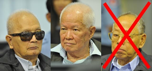 Nuon Chea (links) und Khieu Samphan (Mitte) werden ab sofort auf der Anklagebank auf die Gesellschaft von Ieng Sary verzichten müssen. Fotos: ECCC