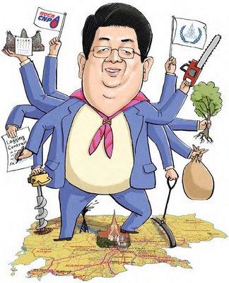 """Sok An galt bisher als Kambodschas ungekrönter König im Multi-Tasking. Doch nach den jüngsten Kompetenzbeschneidungen neigen sich diese Zeiten langsam dem Ende entgegen (Karrikatur gefunden in der Broschüre """"Country for sale"""" von Global Witness, 2009)"""